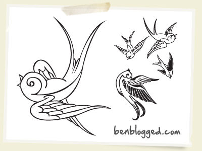 The other old school tattoo designs include swallow tattoos, sparrow tattoos